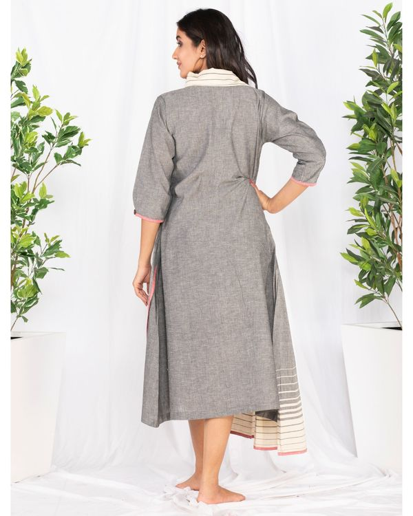 Grey asymmetrical pleated dress 3