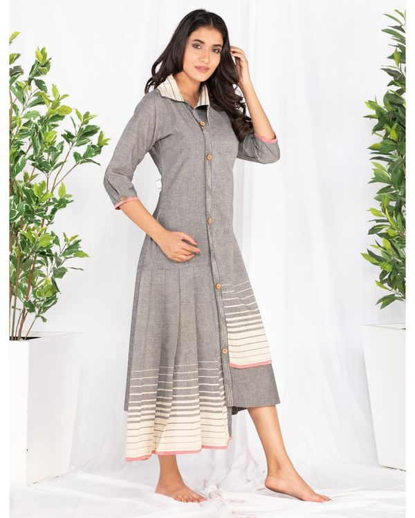 Grey asymmetrical pleated dress 1