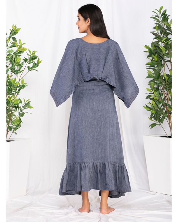 Blue forest embroidered cape dress 3