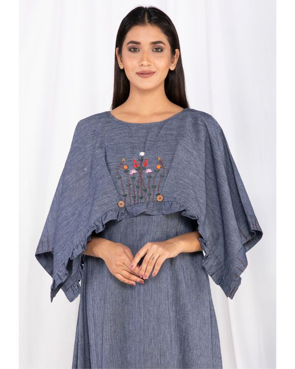 Blue forest embroidered cape dress 1