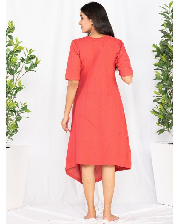 Crimson red cowl dress with flap detailing 3
