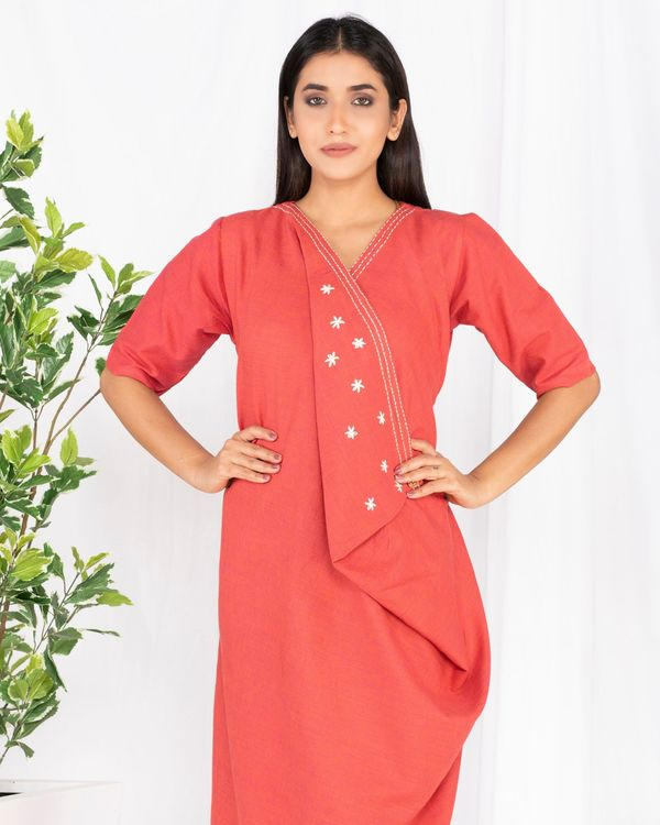 Crimson red cowl dress with flap detailing 1