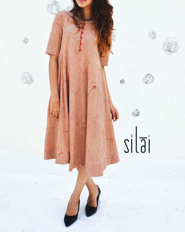 Red polka printed flared dress 1