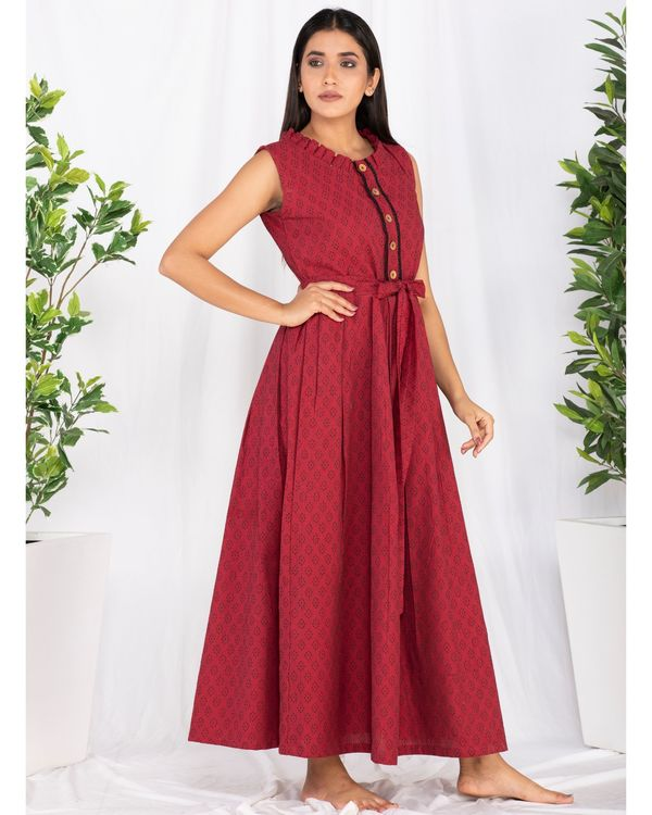 Red buttoned tie-up maxi dress 2