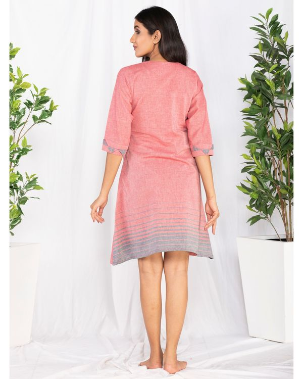Pink printed overlap tie-up dress 3