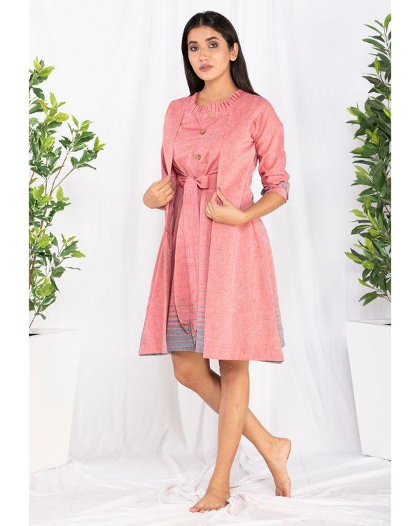 Pink printed overlap tie-up dress 2