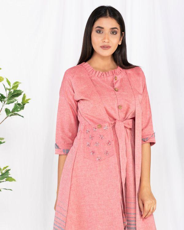 Pink printed overlap tie-up dress 1