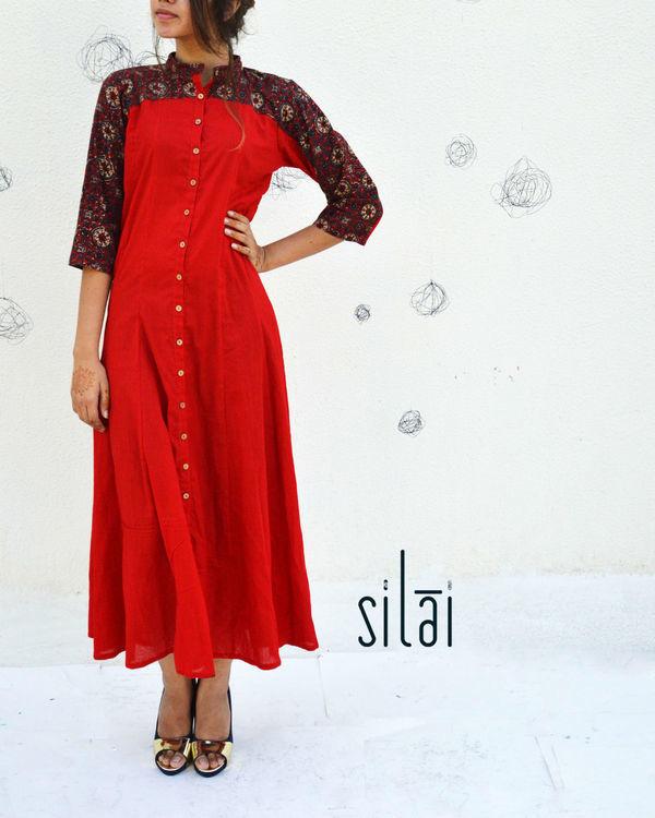 Red ajrakh print yoke dress 1