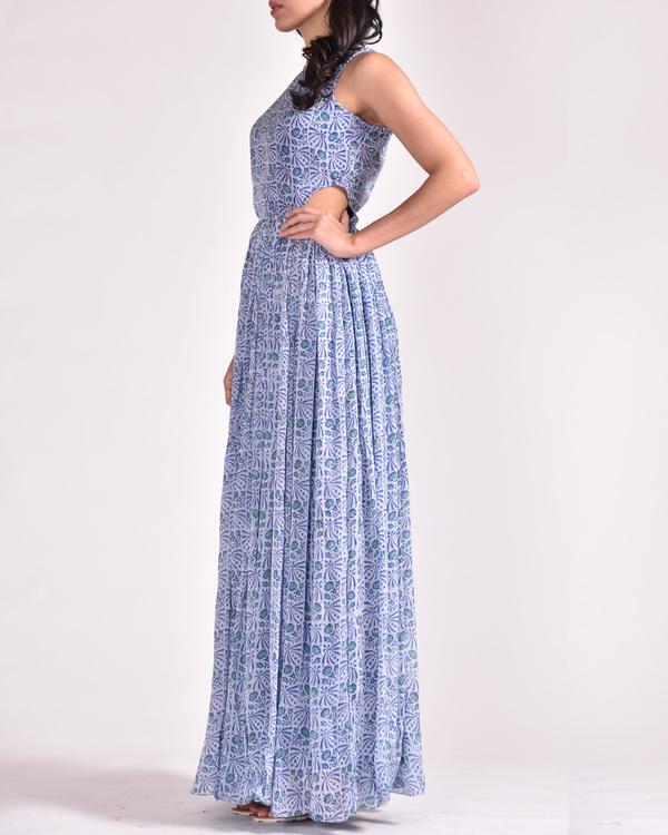 Blue cut out maxi dress 1