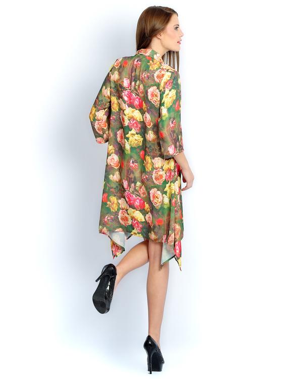 Green floral print long a-line shirt 1