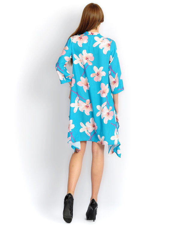 Turquoise big floral print long a-line shirt 1