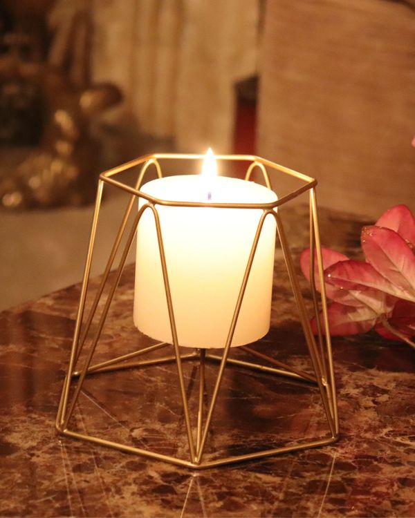Hexagon metal candle holder 2