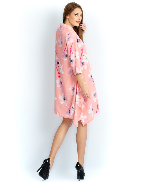 Blush pink long a-line shirt 1