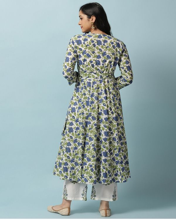Blue floral angrakha and palazzo- Set Of Two 2