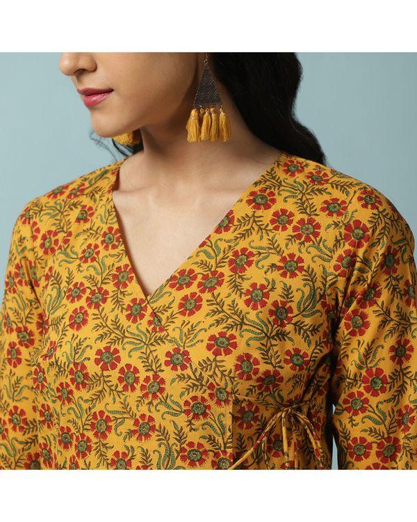 Mustard yellow floral kalidar angrakha and palazzo- Set Of Two 1