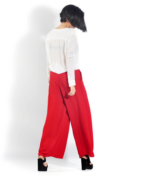 Red pleated palazzo pants 1