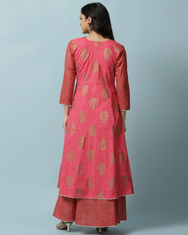 Pink front open jacket with maxi dress- Set Of Two 5