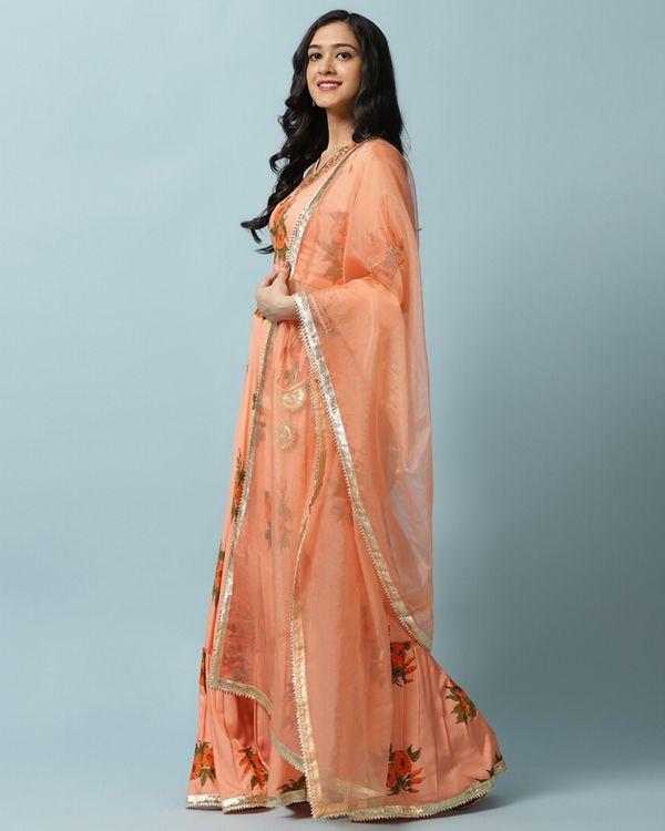 Orange petunia lehenga and choli with dupatta- Set Of Three 2