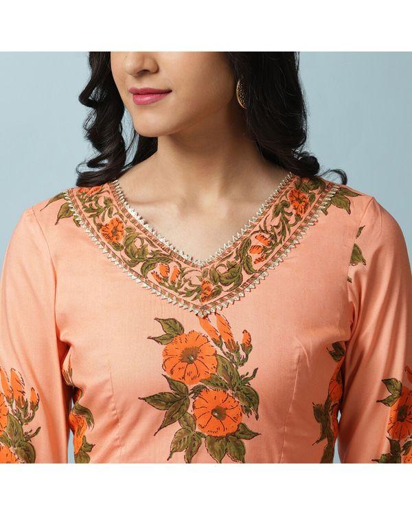 Orange petunia lehenga and choli with dupatta- Set Of Three 1