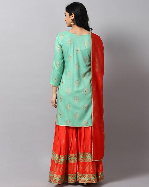Turquoise printed gota kurta and gharara with red dupatta- Set Of Three 3