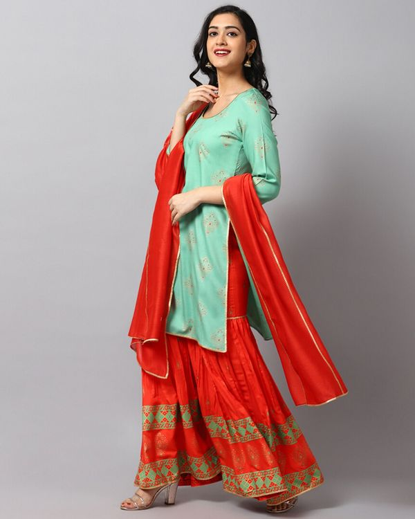 Turquoise printed gota kurta and gharara with red dupatta- Set Of Three 2