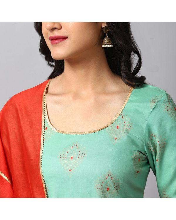 Turquoise printed gota kurta and gharara with red dupatta- Set Of Three 1