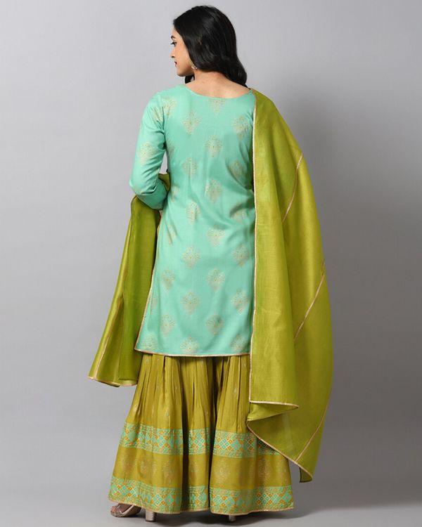 Turquoise printed gota kurta and gharara with green dupatta- Set Of Three 3