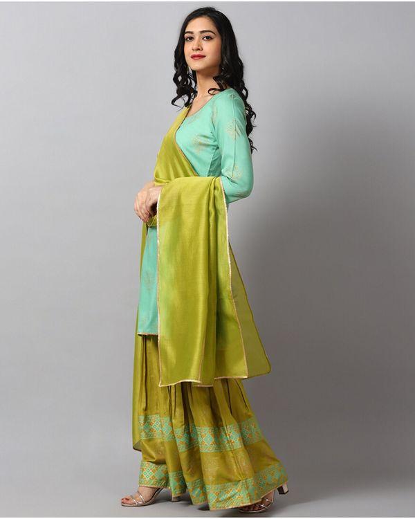 Turquoise printed gota kurta and gharara with green dupatta- Set Of Three 2