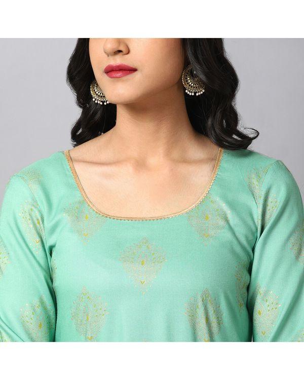 Turquoise printed gota kurta and gharara with green dupatta- Set Of Three 1