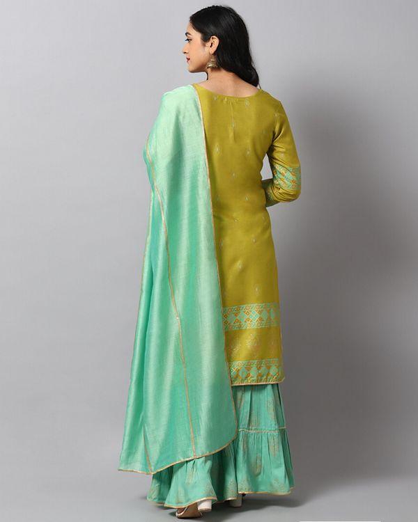 Green panel printed kurta and gharara with turquoise dupatta- Set Of Three 3