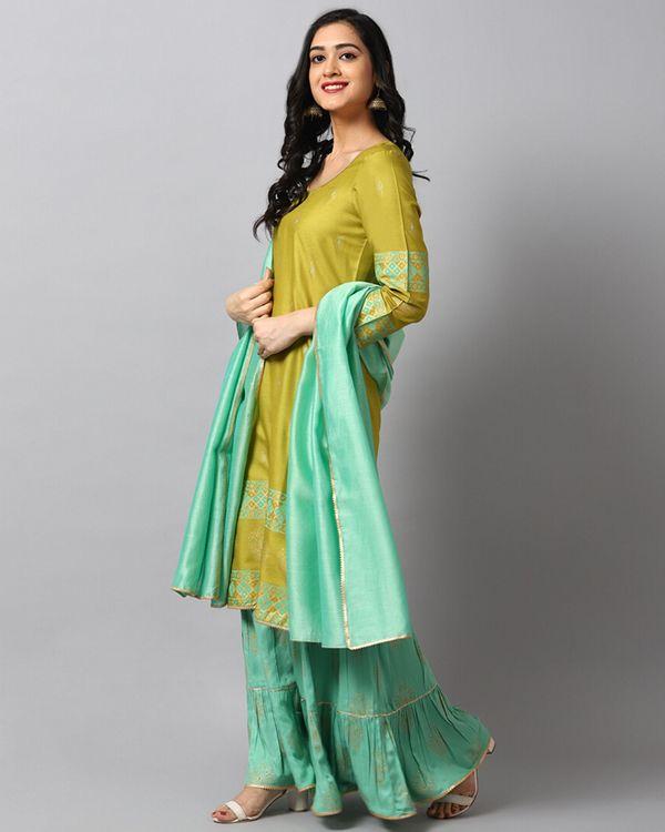 Green panel printed kurta and gharara with turquoise dupatta- Set Of Three 2