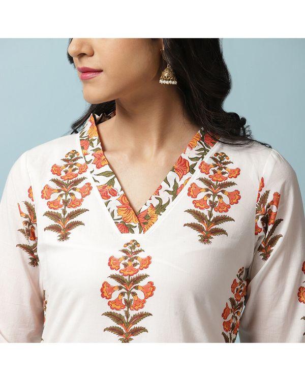 White and orange floral kurta and palazzo with dupatta- Set Of Three 1