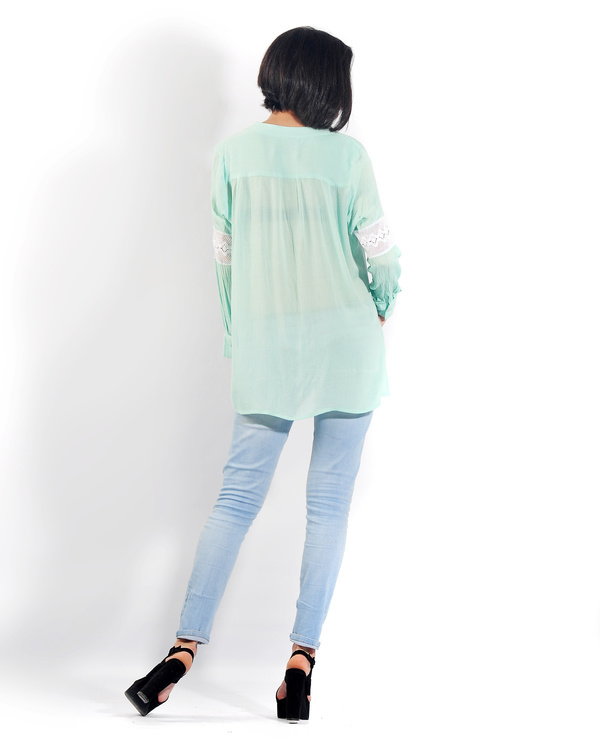 Turquoise lace button down shirt 1