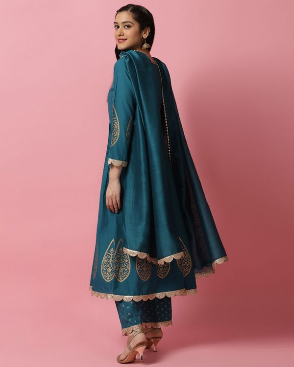 Teal blue panel printed anarkali and palazzo with dupatta- Set Of Three 3