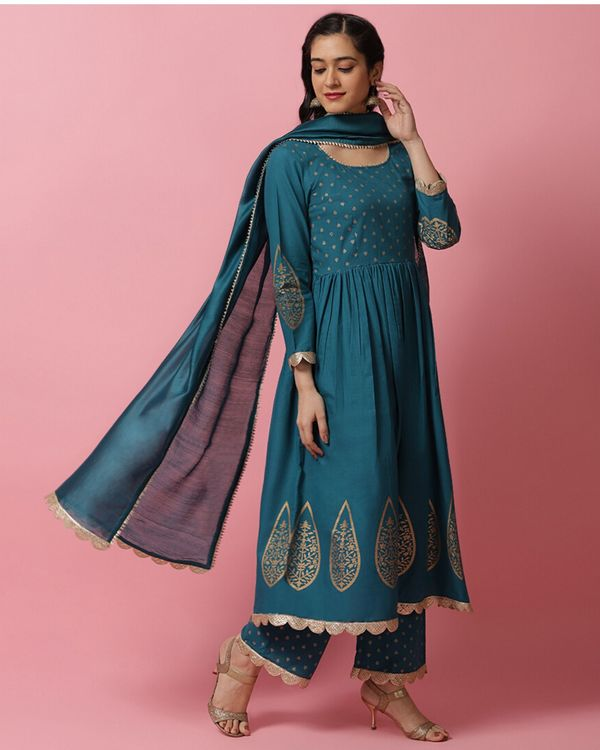 Teal blue panel printed anarkali and palazzo with dupatta- Set Of Three 2