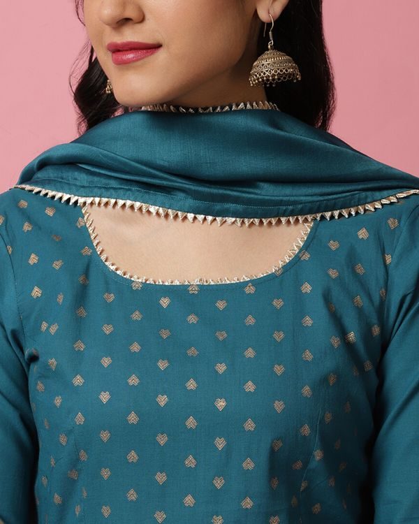 Teal blue panel printed anarkali and palazzo with dupatta- Set Of Three 1