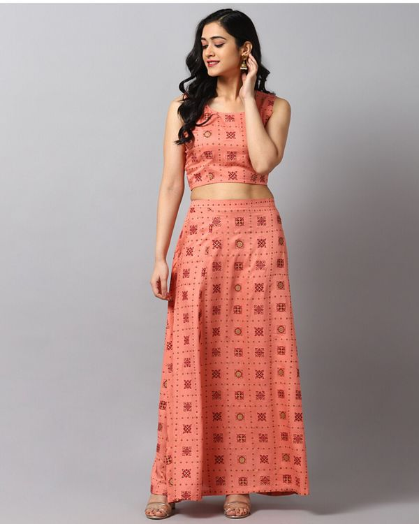 Peach printed crop top and skirt with jacket- Set Of Three 2
