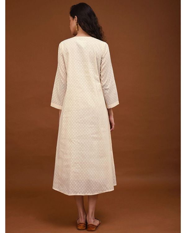 Off white hand embroidered gathers dress 3