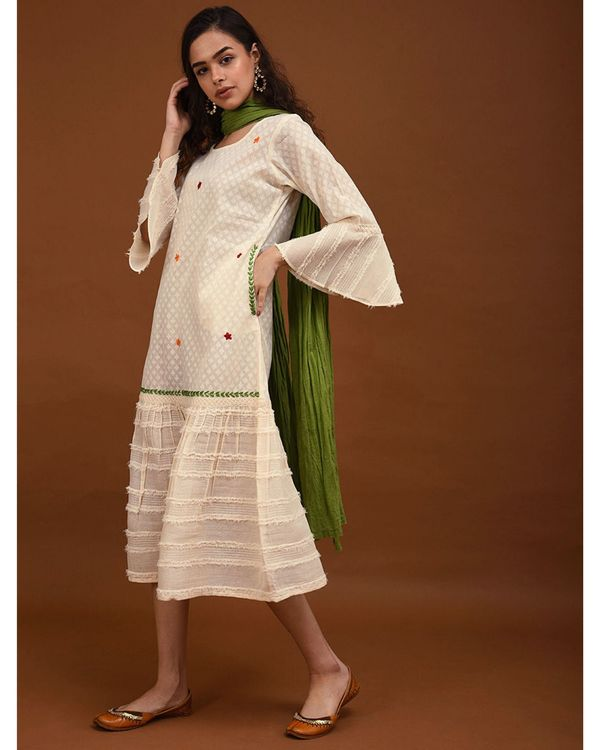 Off white hand embroidered paneled dress 2