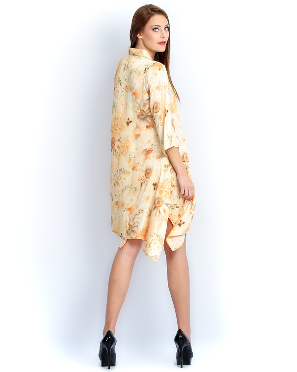 Sun flower long a-line shirt 1