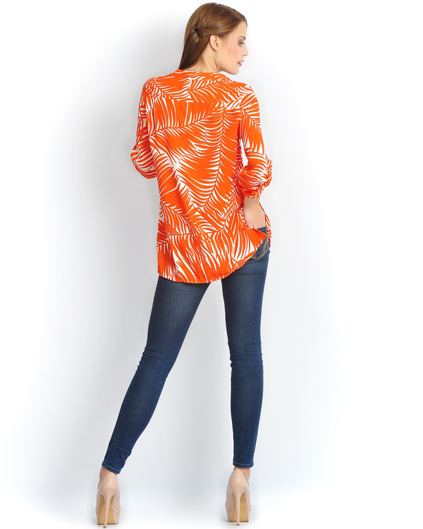 Orange palm button down shirt 1