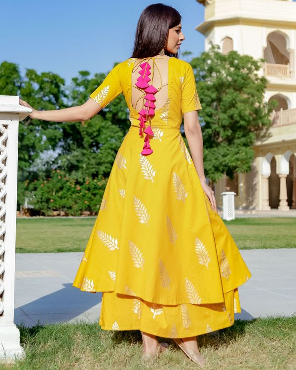 Yellow and gold foil printed kurta and palazzo with dupatta- Set Of Three 2