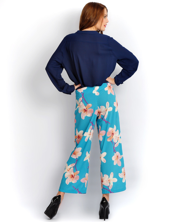 Turquoise big floral palazzos 1