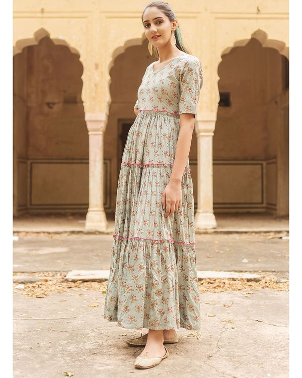 Pastel grey floral ruffled dress 3