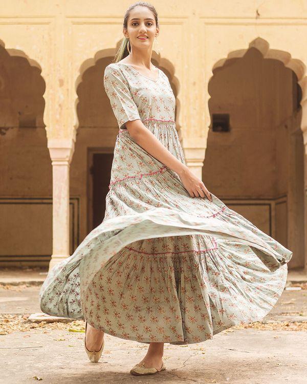 Pastel grey floral ruffled dress 2