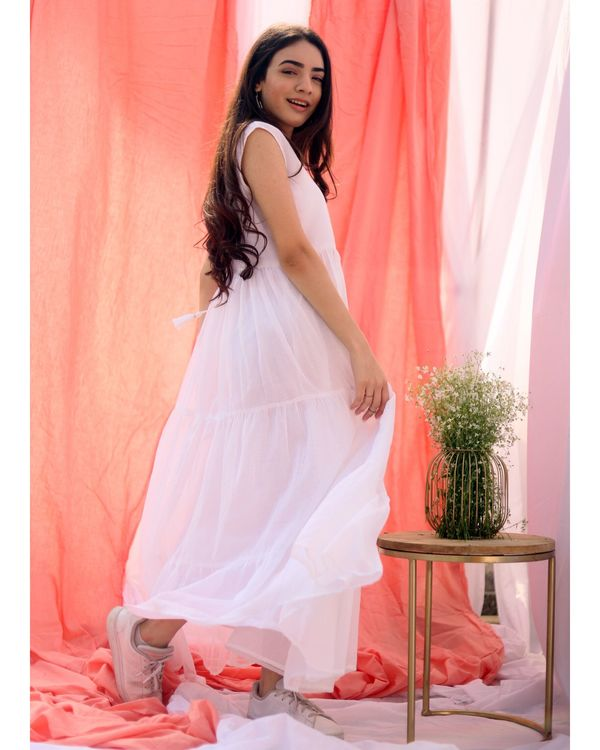 White gathered tier dress with inner slip- Set Of Two 2