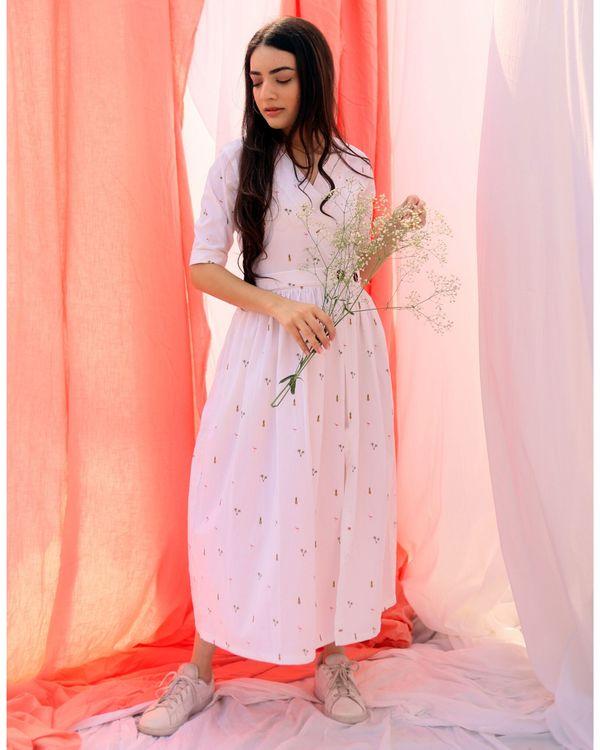 White printed wrap dress 2
