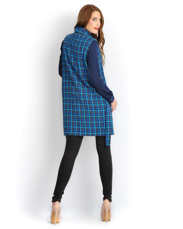 Blue check sleeveless tunic 2