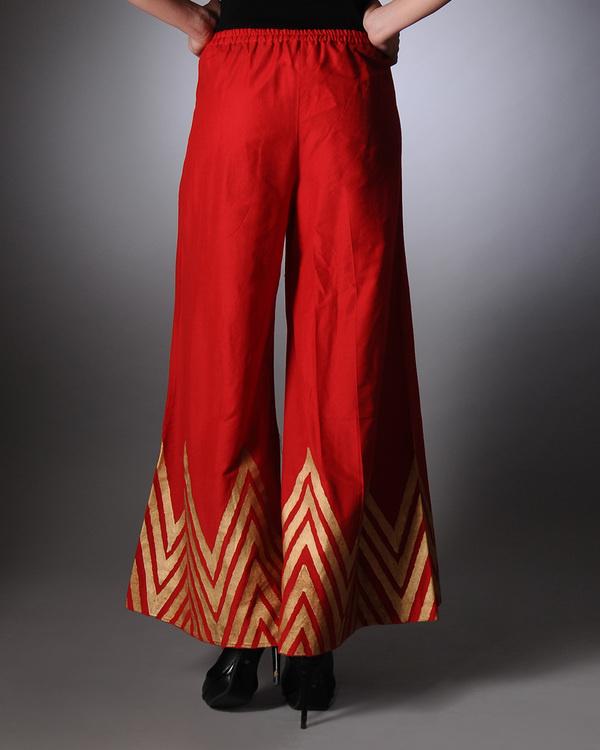 Red block printed palazzo pants 2