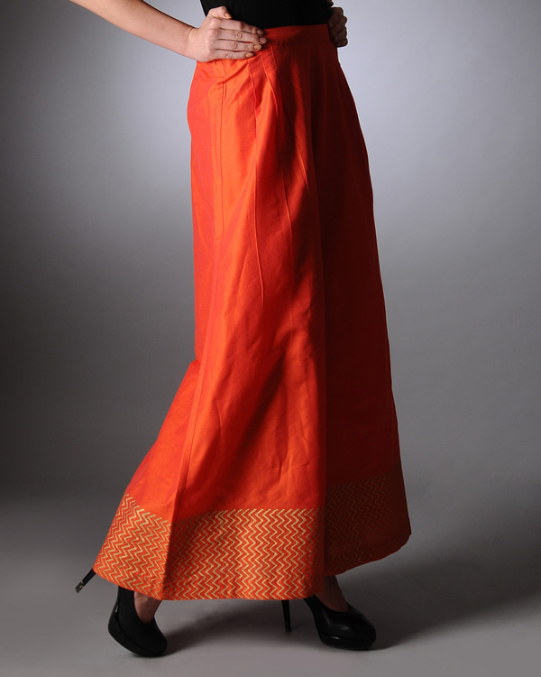 Orange block printed palazzo pants 1